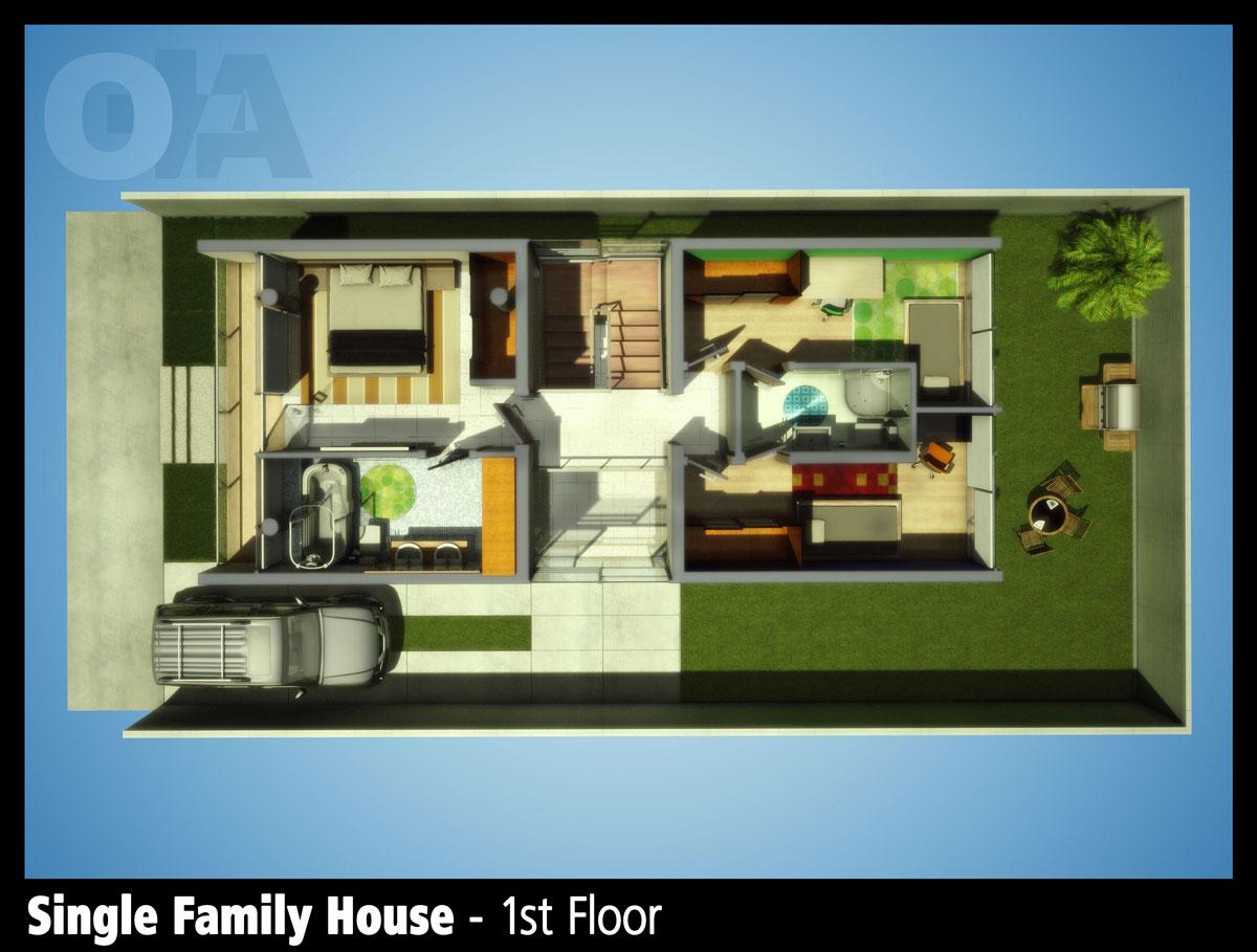 Single Familie Haus - Zweiter Stock - 3D-Ring.de