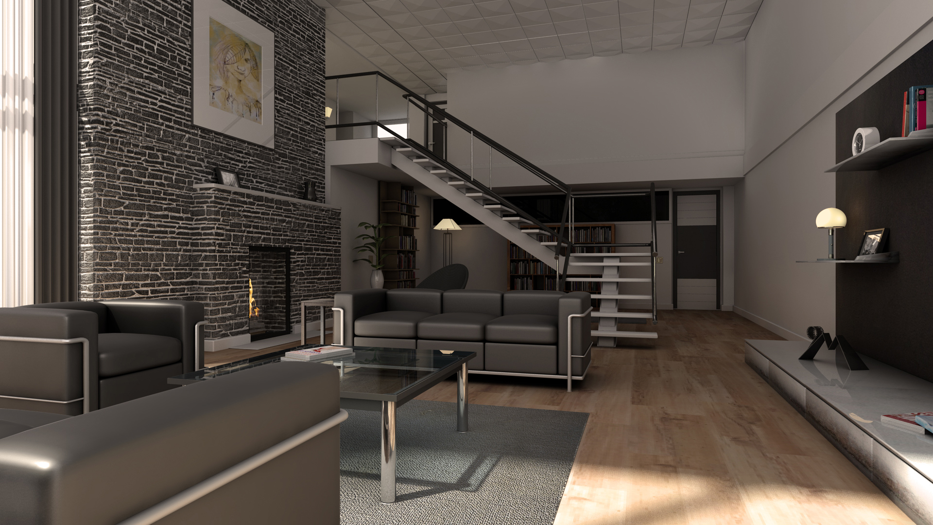 Wohnzimmer 2 interior wohnzimmer haus 3d for Interior wohnzimmer