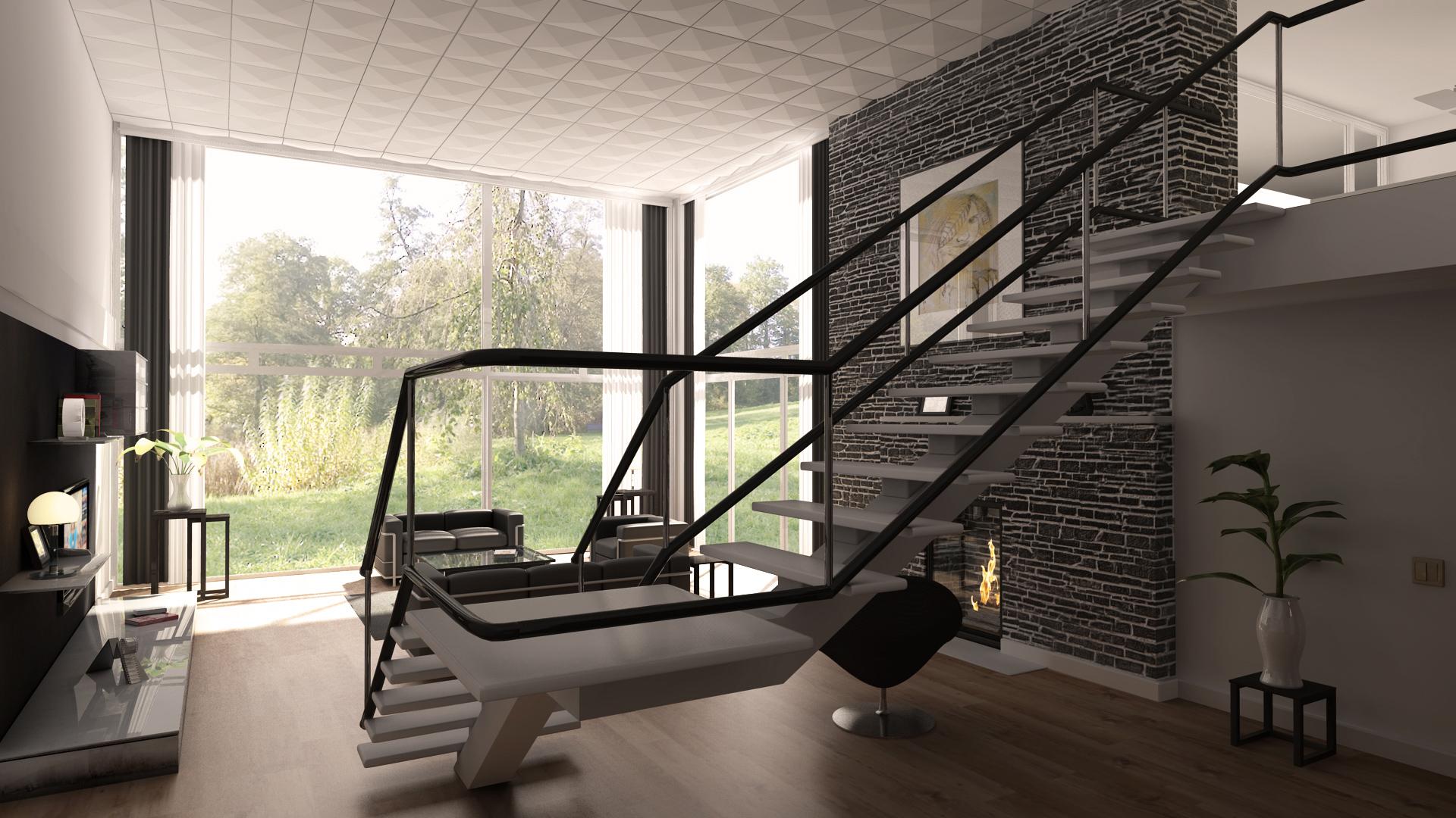 Wohnzimmer 3 interior wohnzimmer haus 3d - Steinmauer wohnzimmer ...