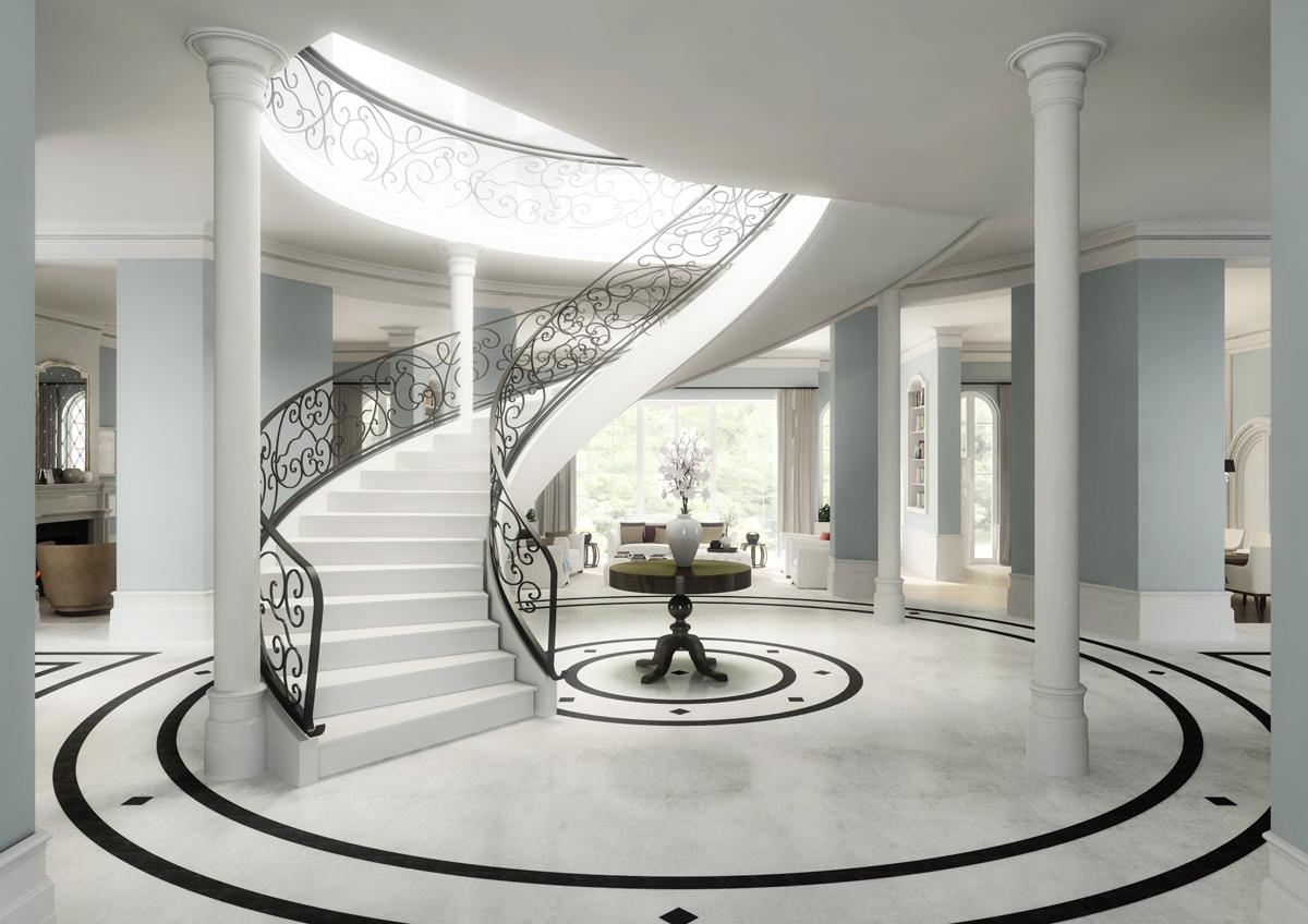 Architektur Visualisierung Villa Moskau Empfangsbereich ...