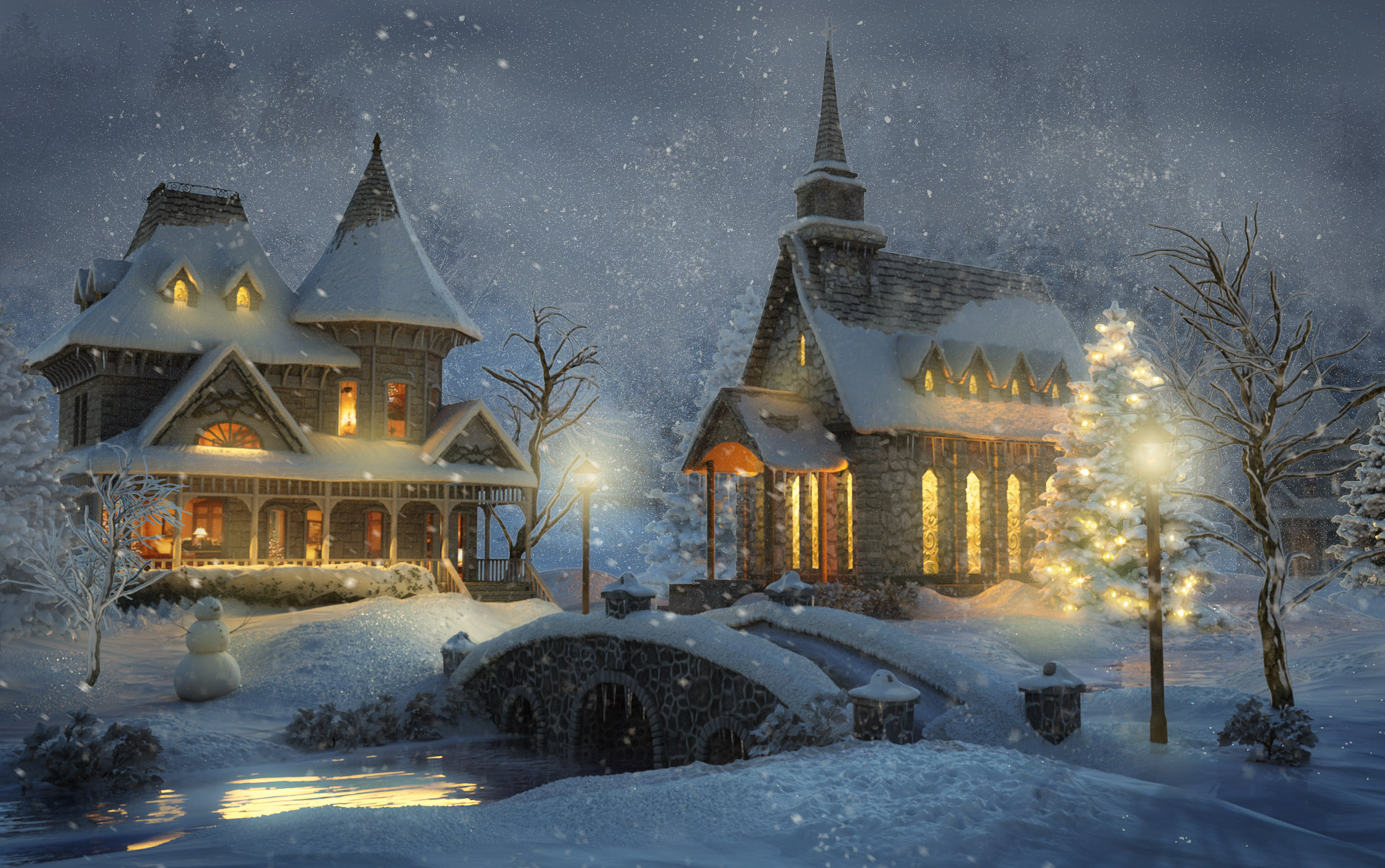 Зима и предвесенье на рабочий стол 1200 4
