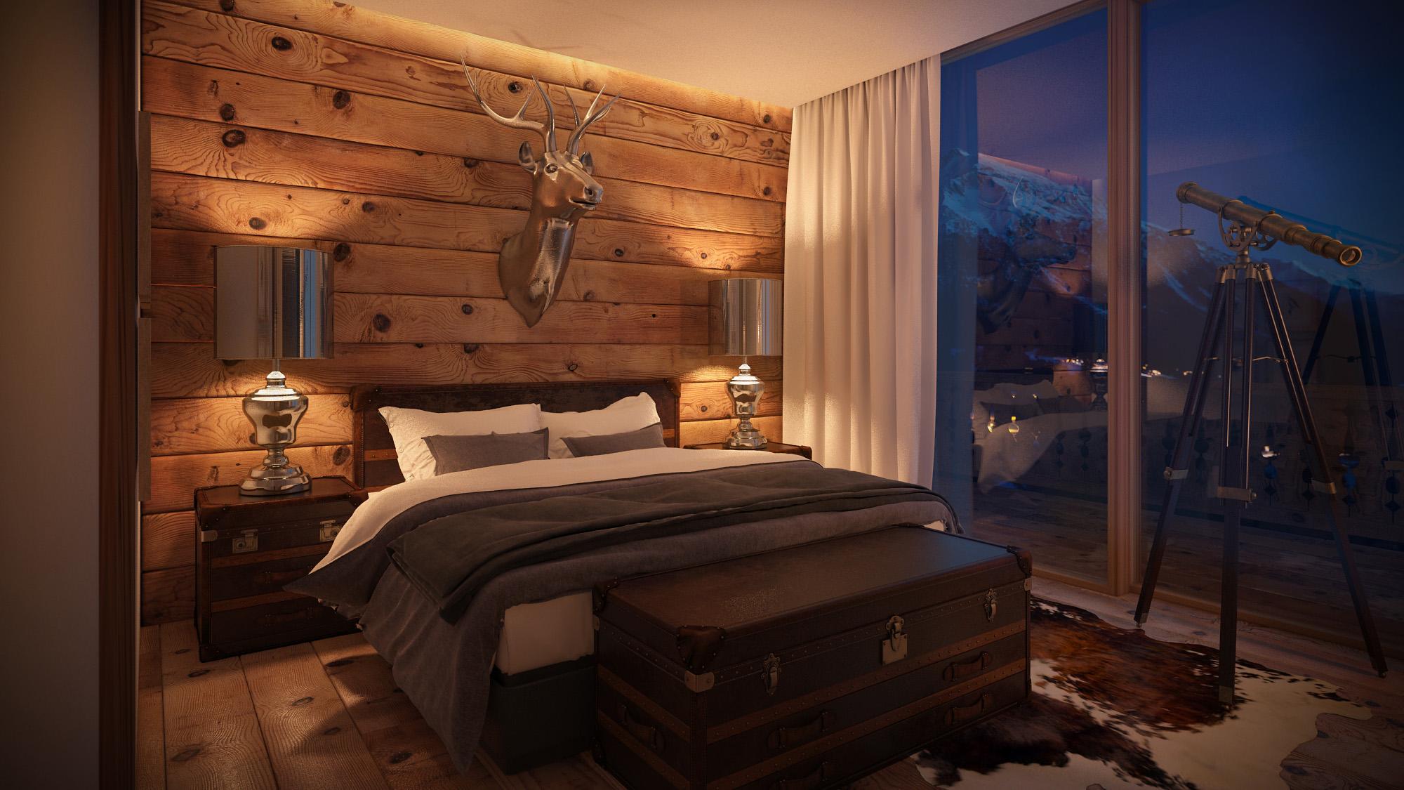 Hotelzimmer alpine chic 3d - Fachwerk innen dekorieren ...