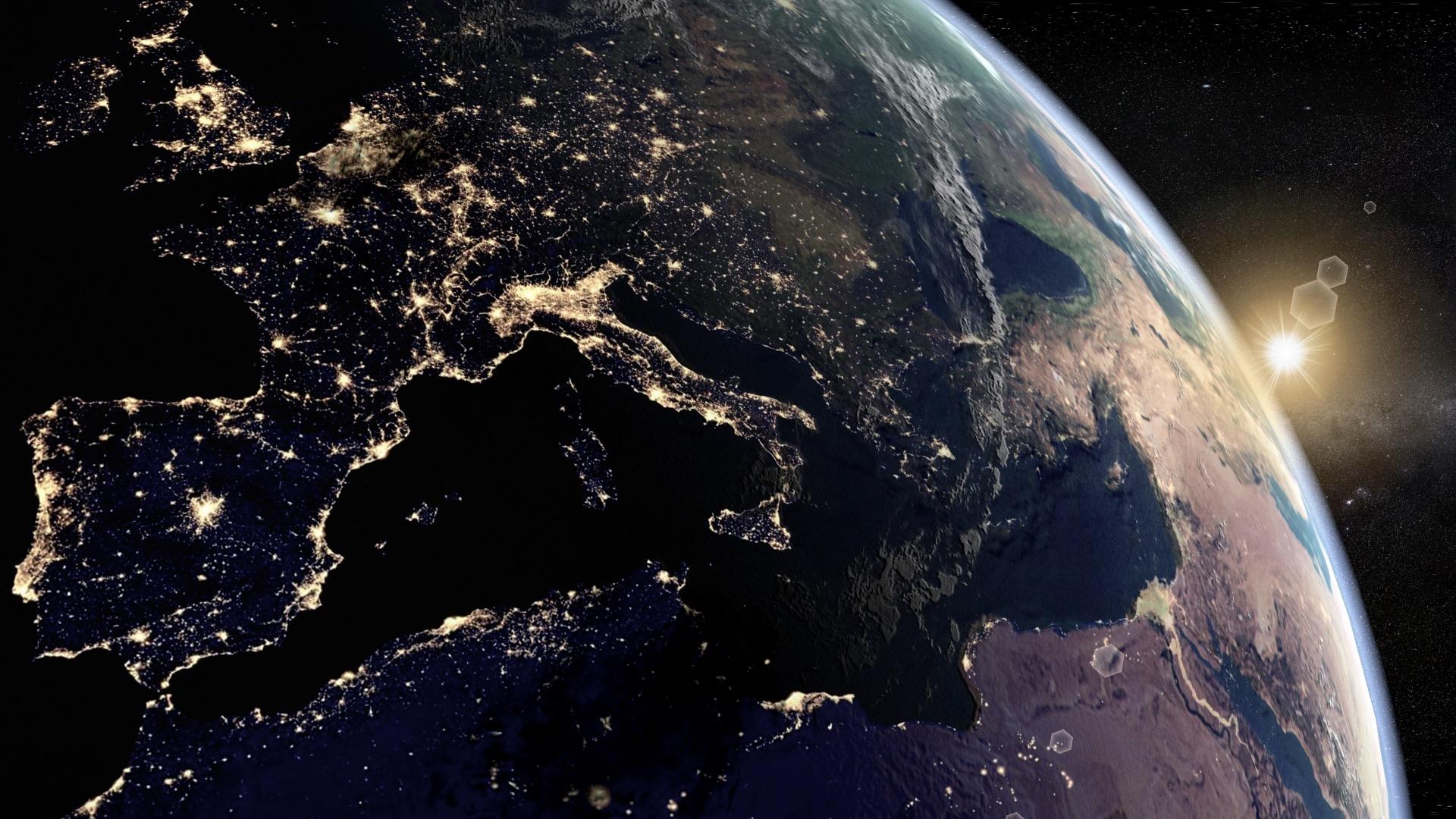 Erde Bei Nacht Erde Nacht 3d Ringde
